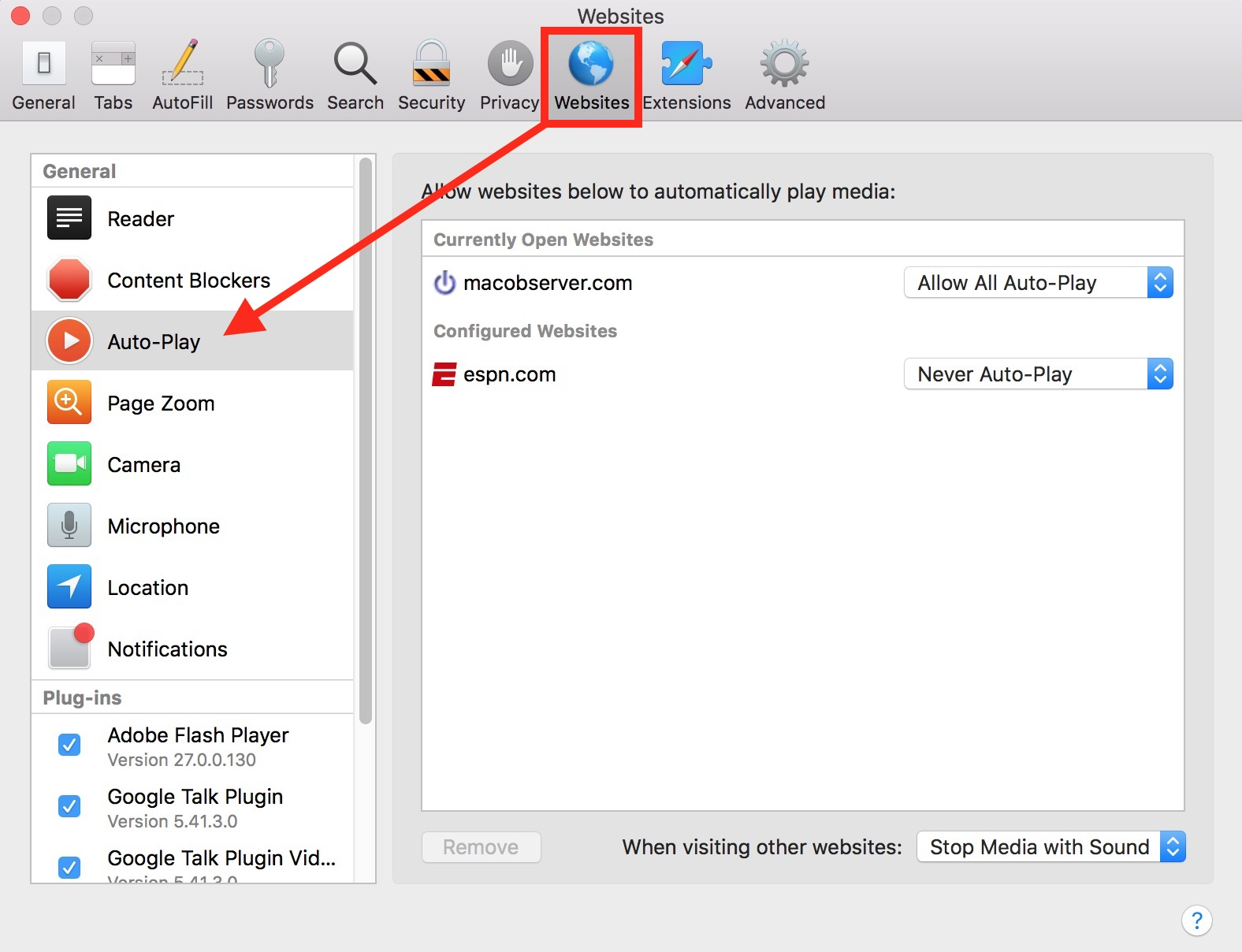 Safari Auto-Play Preferences for Websites