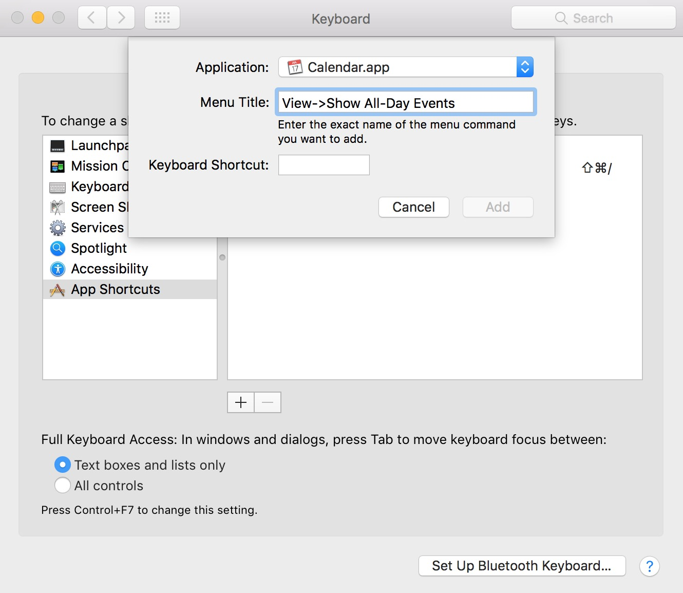 Adding a new custom keyboard shortcut