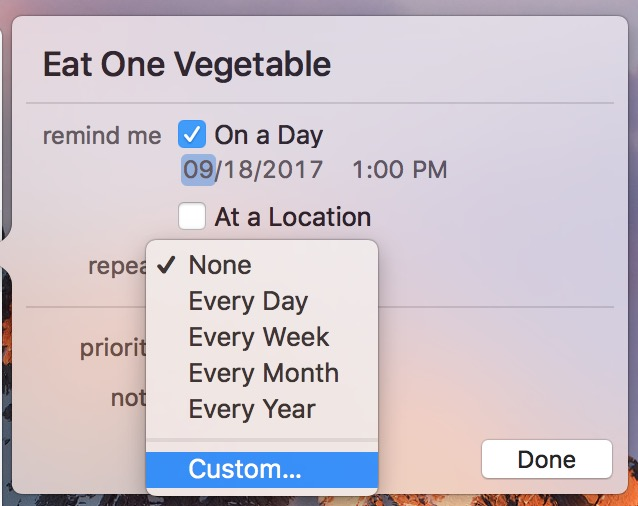 Custom Repeats opens the view to create your schedule for Reminders tasks
