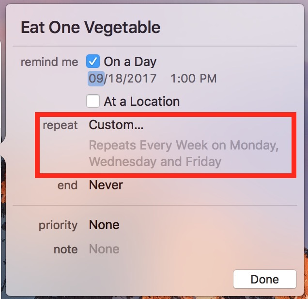 Completed custom Reminders schedule shown in easy to read words like Repeats Every Week on Monday, Wednesday, and Friday