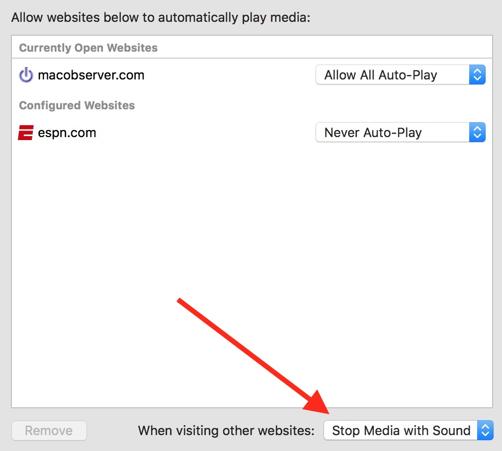 Safari Global Setting for Auto-Play video