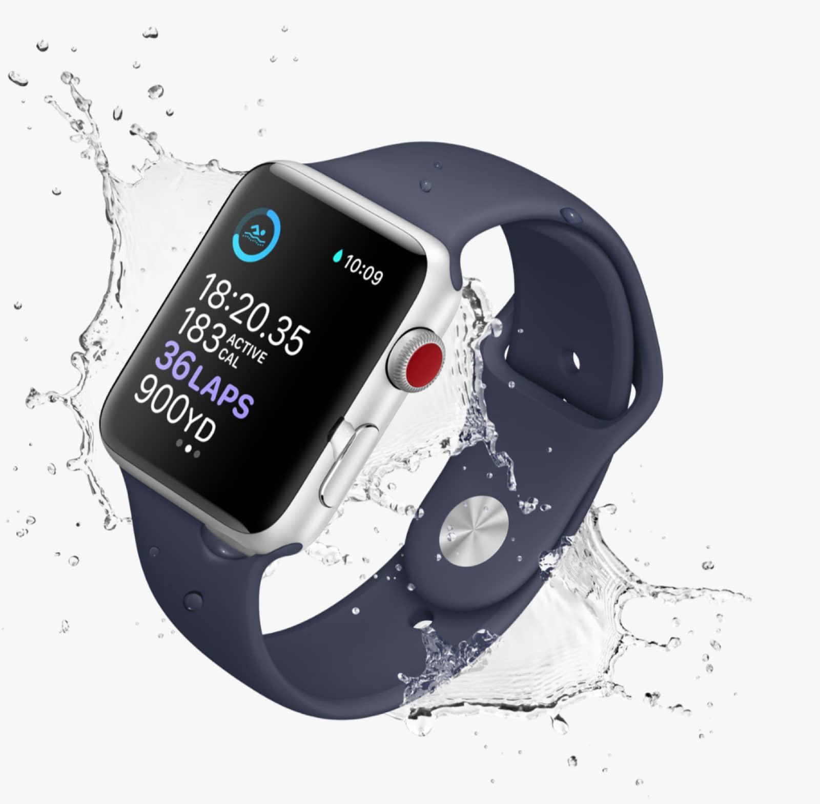 LTE Apple Watching demonstration of waterproofing.