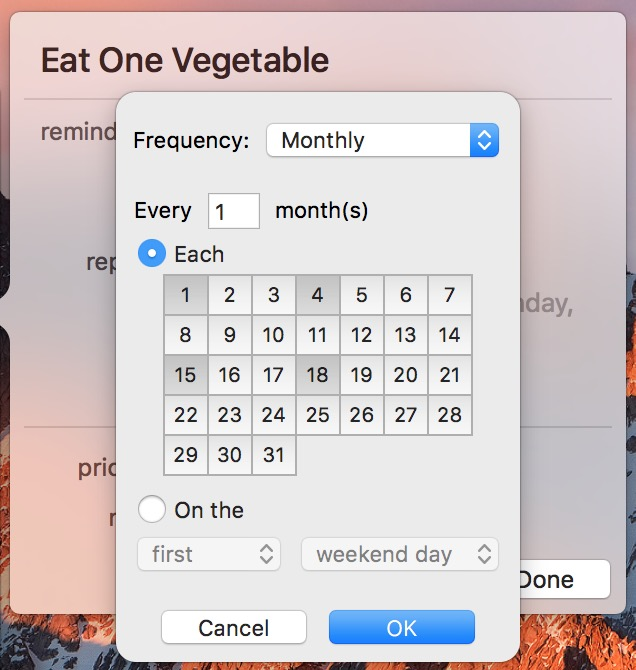 Reminders tasks can be set to repeat on specific days every month in Monthly Options