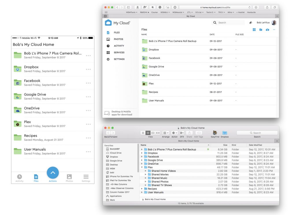 The contents of my My Cloud Home as seen in iOS (left), web (top right), and Finder (bottom right).