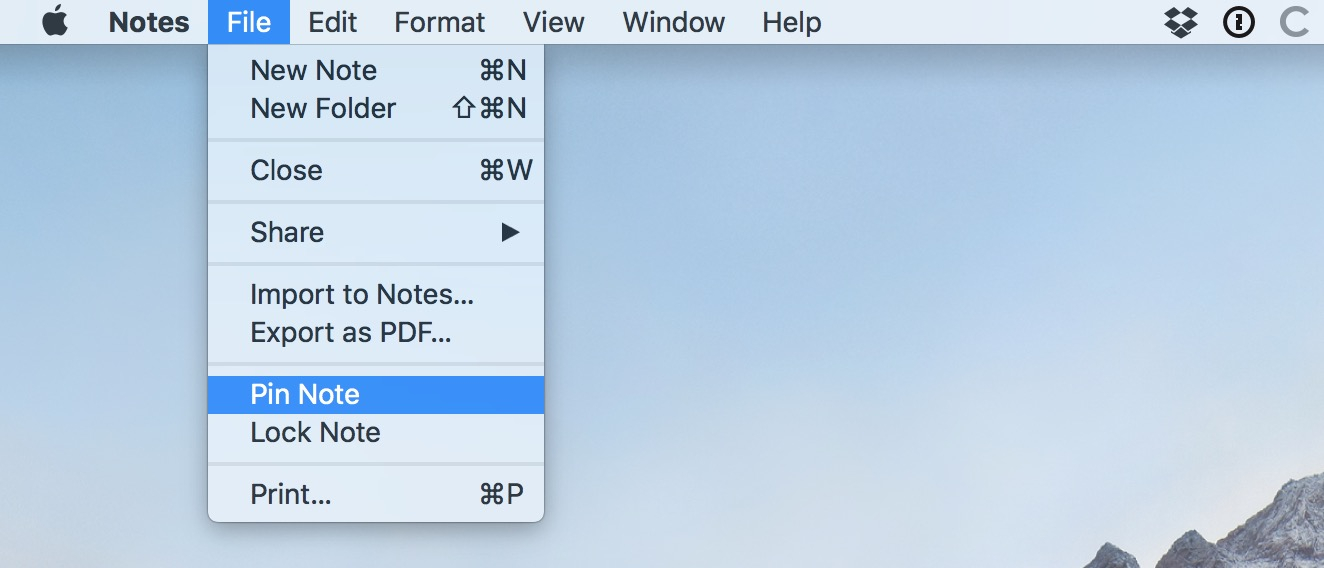 Notes File Menu showing Pin Note option