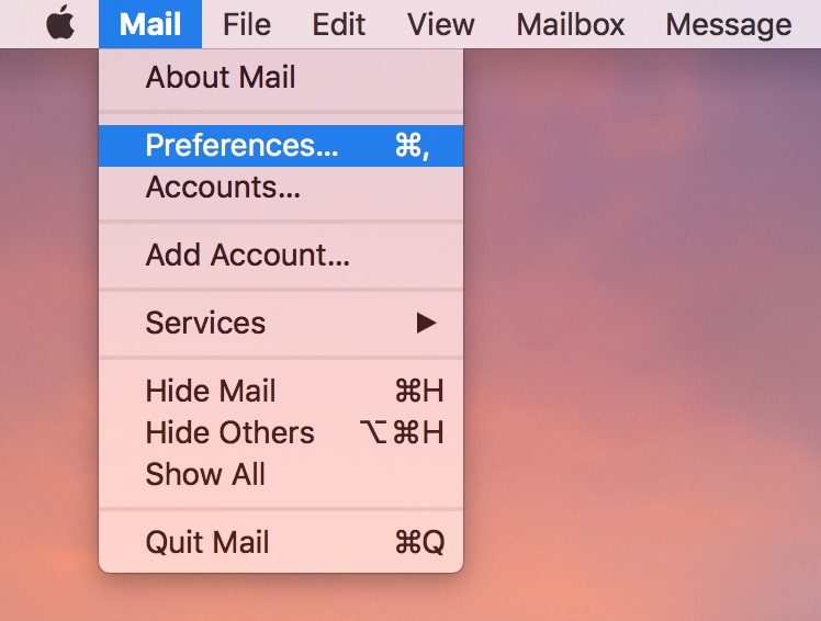 Mail Menu Preferences gets you to settings to manage where sent email messages are stored