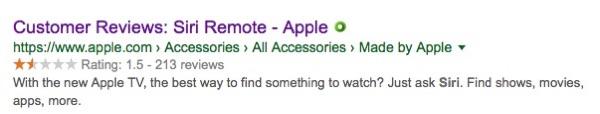 Siri remote customer ratings.