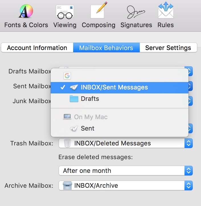 "Changing Sent Mailbox Settings from ""On My Mac"" to your IMAP server"