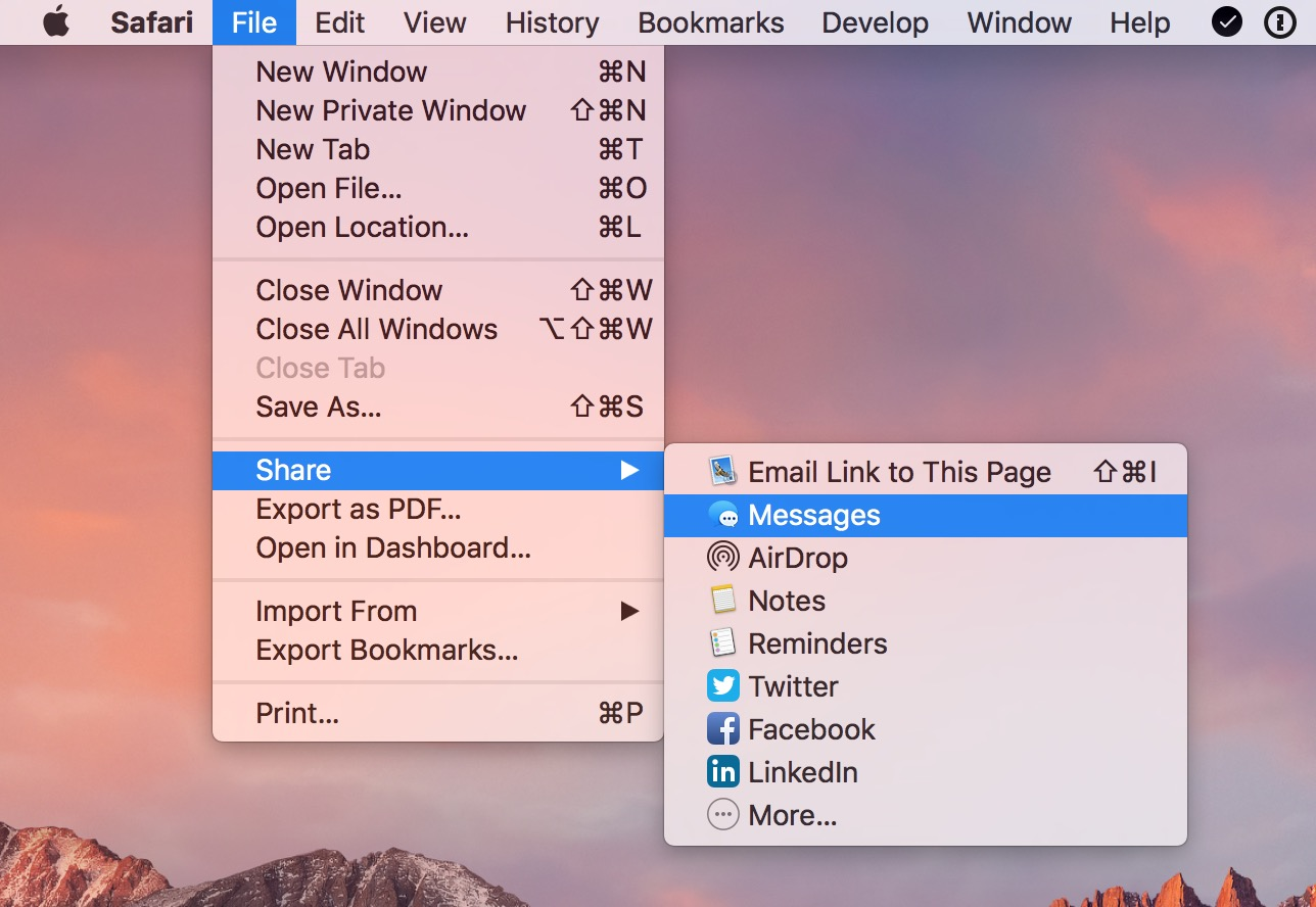 Use app menus to see the exact command name like Share to Messages in Safari