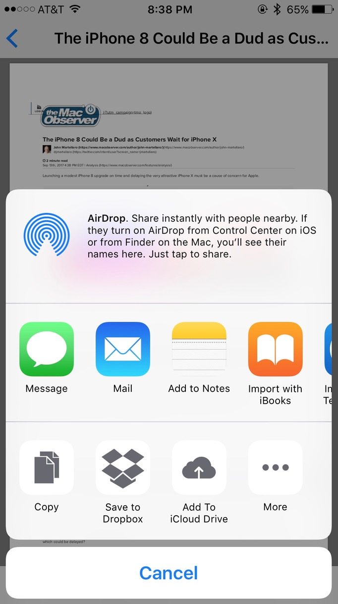 Add to iCloud Drive, Save to Dropbox, sent to Messages or Mail, are all options for saving your PDF