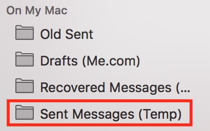 Mail showing Sent Messages under On My Mac