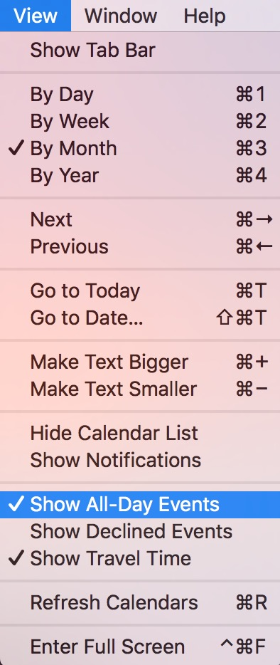 The View Menu in Calendar lets you turn off Show All-Day Events