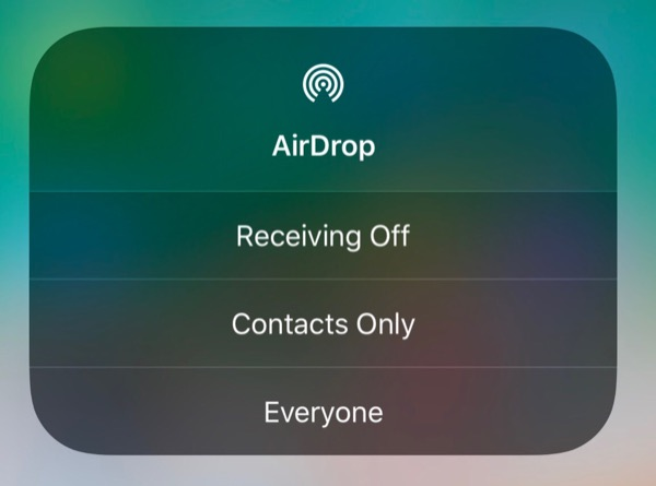 AirDrop in iOS 11 from Control Center - Step 2