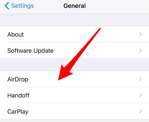 airdrop in ios 11 - Settings Step 1