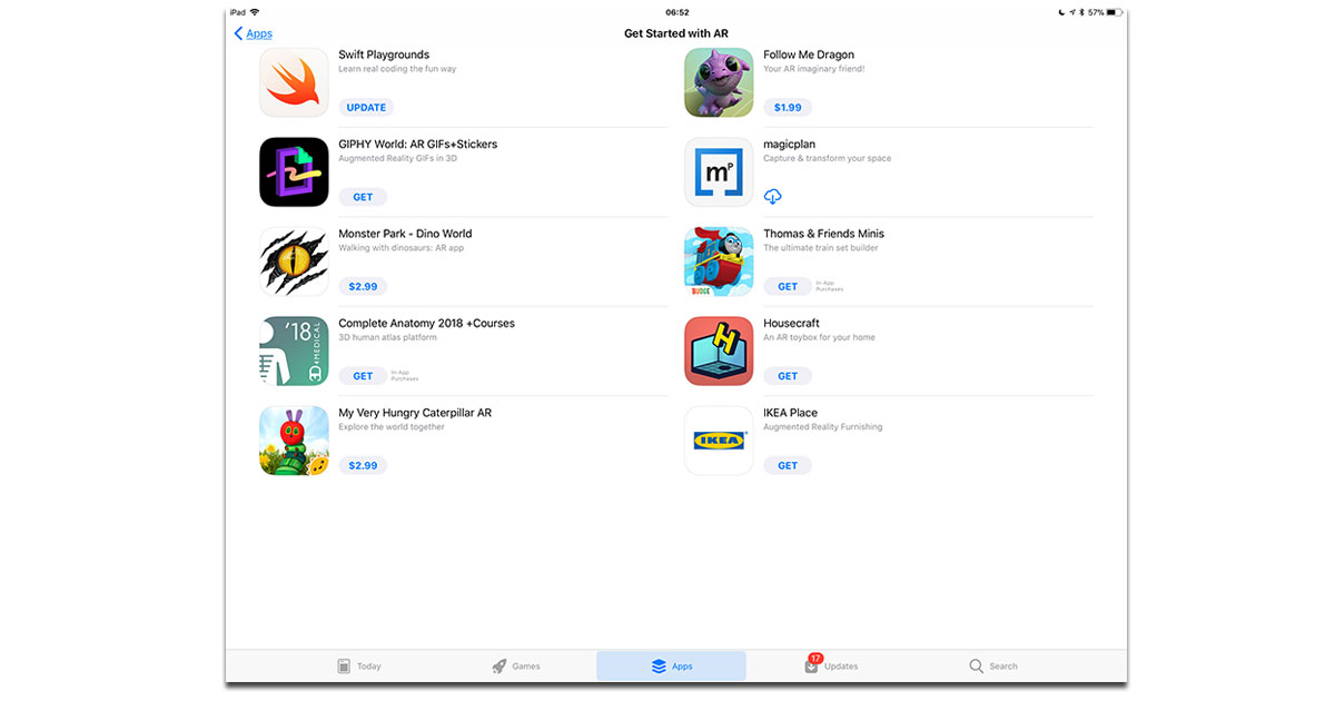 ARKit apps on Apple's App Store for iPhone and iPad