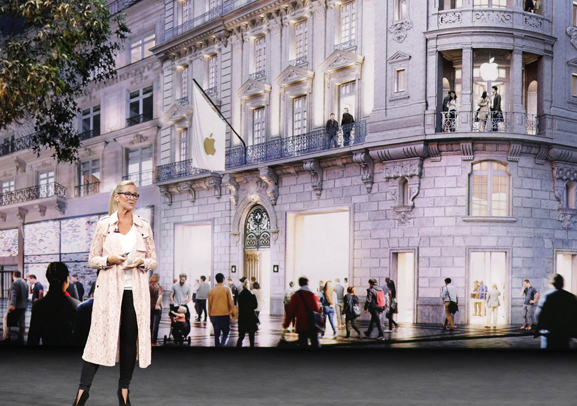 Angela Ahrendts presenting during Apple's 2017 media event