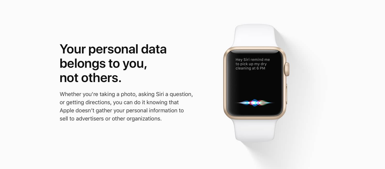 Screenshot of Apple Watch from Apple privacy page.