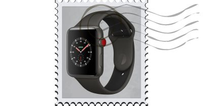 Apple Watch on a stamp