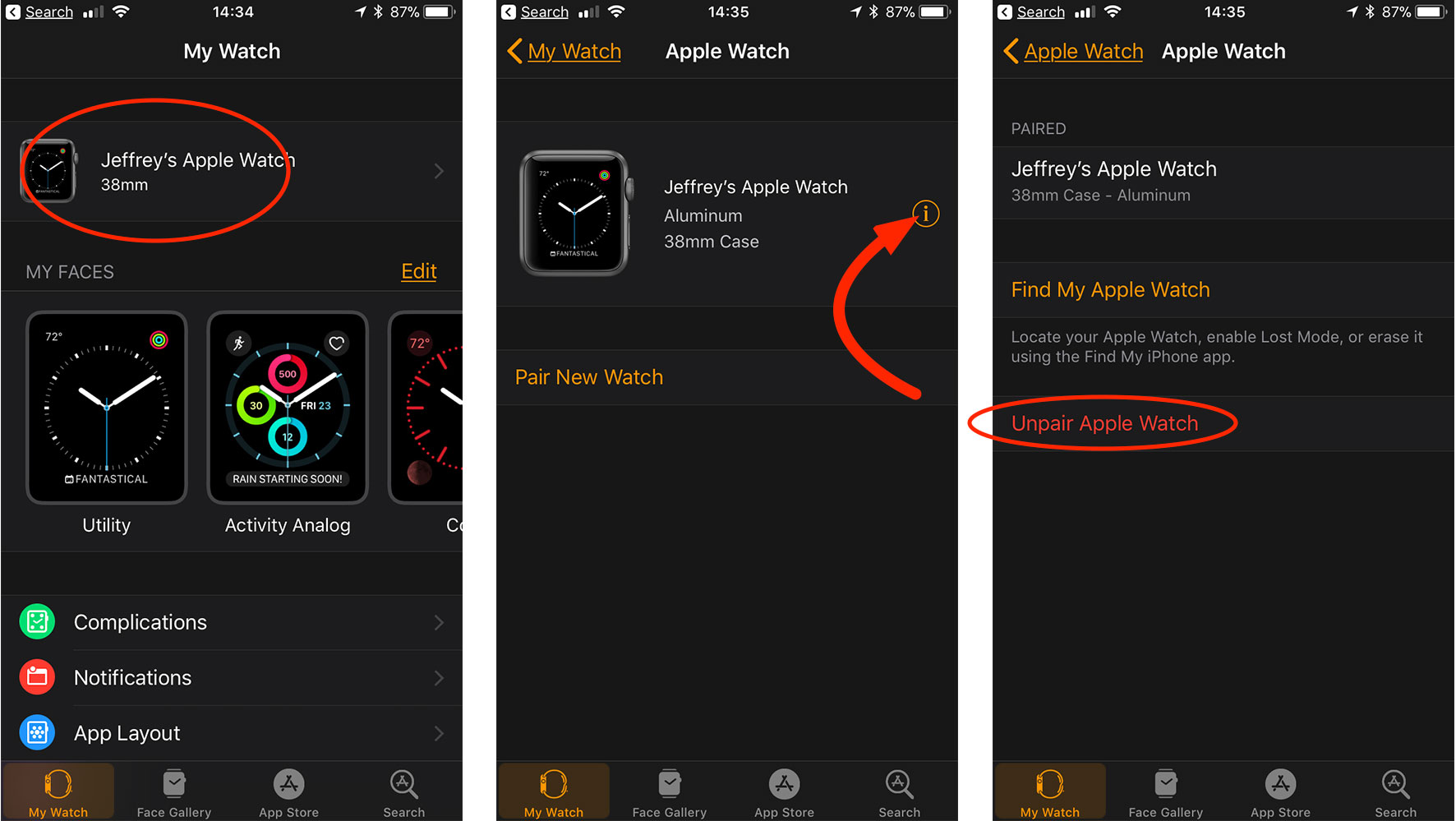 Apple Watch unpairing process on iPhone