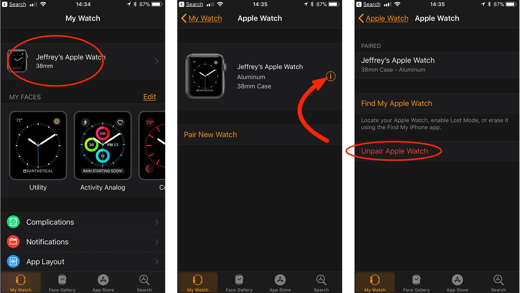 Apple Watch unpairing process on iPhone