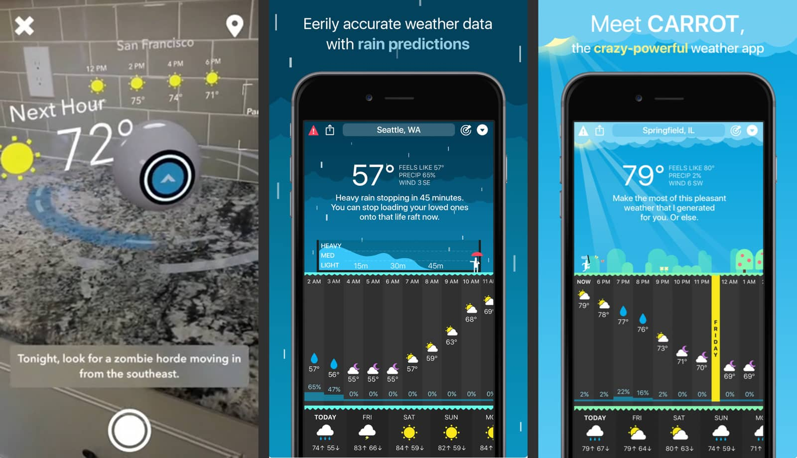 Carrot Weather app, one of the new AR apps and games.