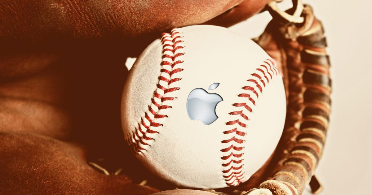 Baseball in a mitt with the Apple logo