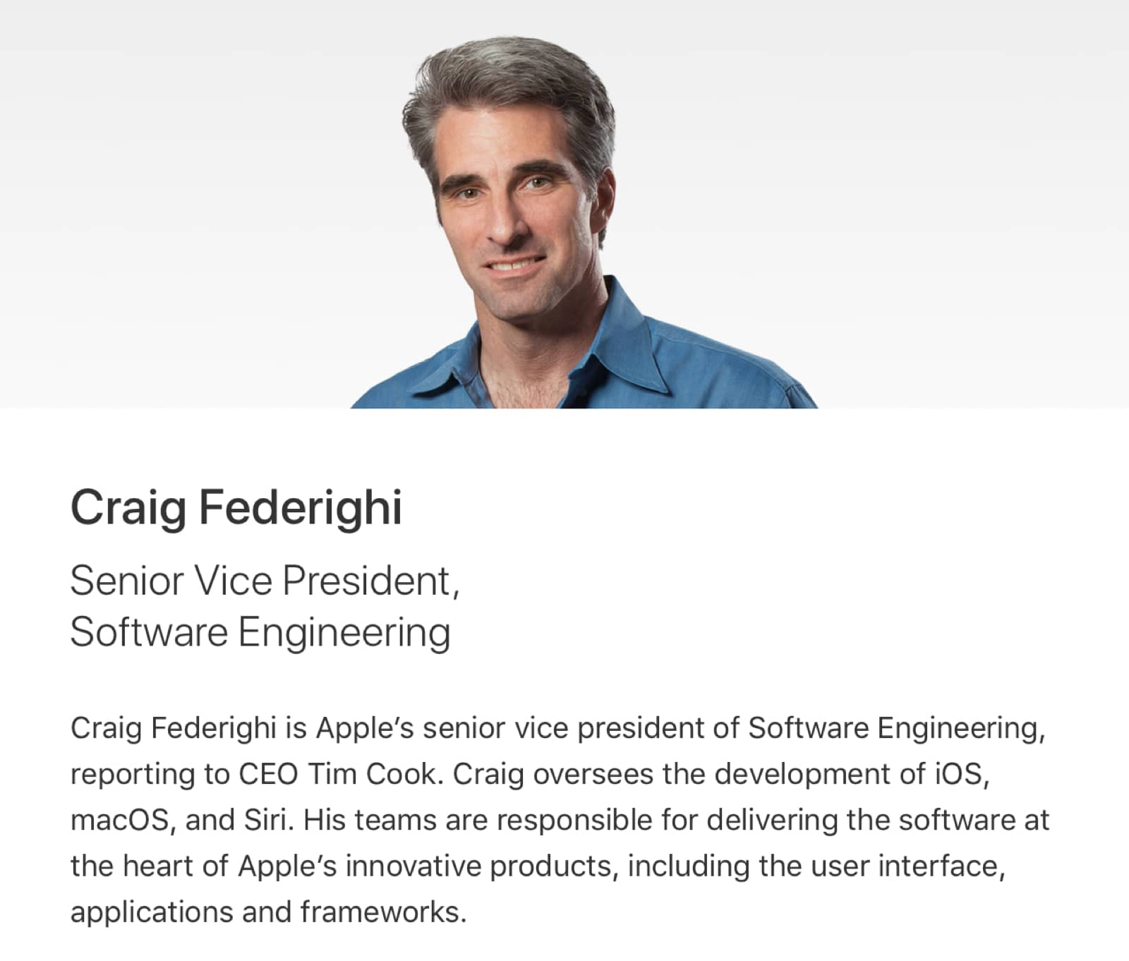 Craig's new bio page says he leads the Siri team.