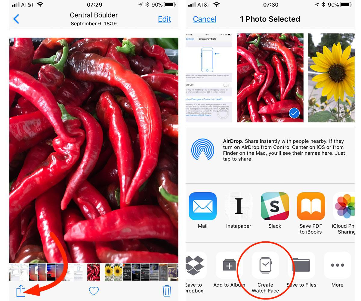 Choosing a photo for a custom watch face in iOS 11