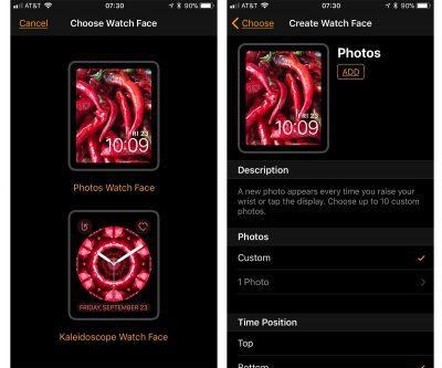 Custom watch face settings in iOS 11