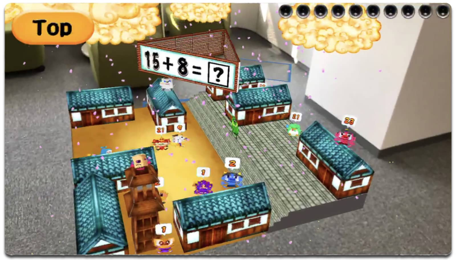 Screenshot of Math Ninja, one of the education AR apps.
