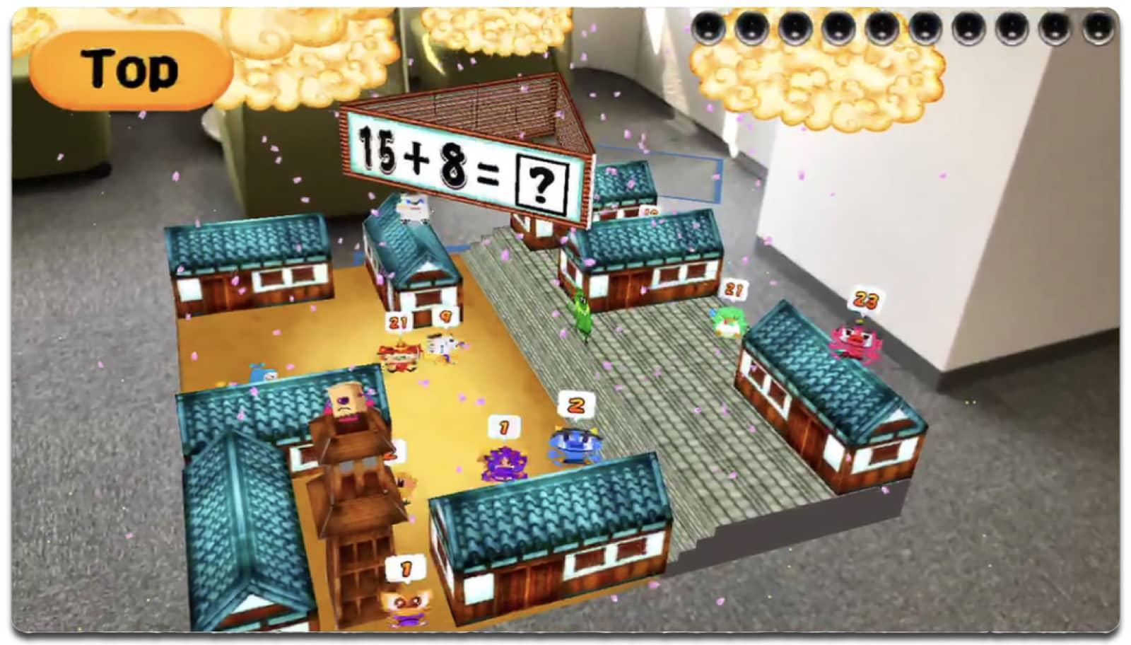 Screenshot of Math Ninja, one of the education AR apps.