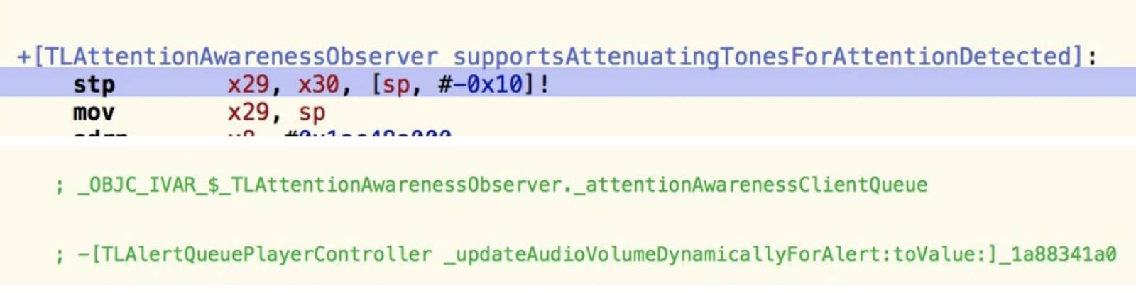 Code snippets for silencing notifications when you look at your iPhone. Eye-tracking ads could also use code like this.