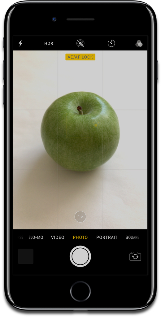 Screenshot of using focus lock on an apple in the iPhone camera app.