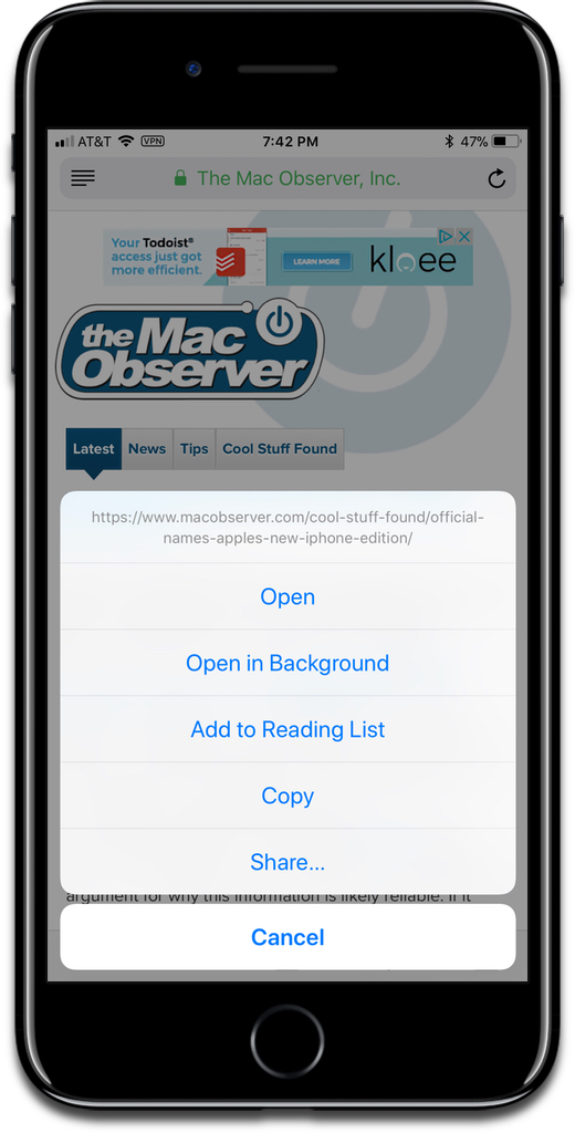 The menu option that appears when you long press or 3D Touch a link in Safari. But a new Safari finger gesture does it faster and without the menu.
