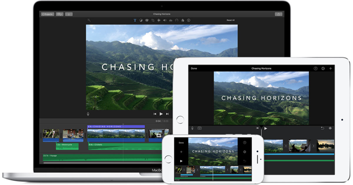 image of imovie on macbook, ipad, iphone