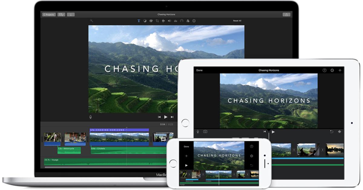 image of imovie on macbook, ipad, iphone