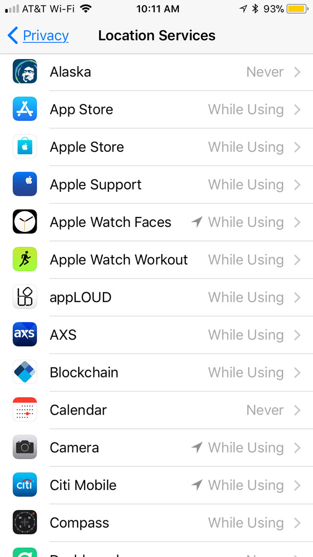 Location Services Settings for apps in iOS 11