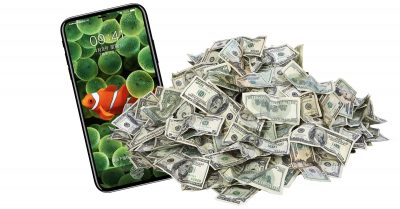 iPhone 8 with a big pile of money