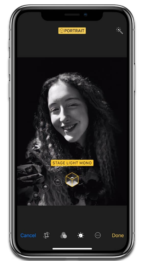 iPhone X Portrait Lighting, one of the new iPhone camera features.