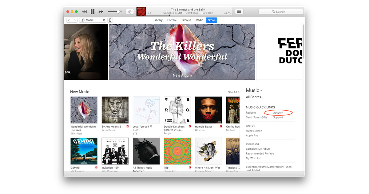 Settings for managing subscriptions in iTunes are in your Account