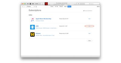 Editing subscription settings in iTunes lets you cancel a subscription
