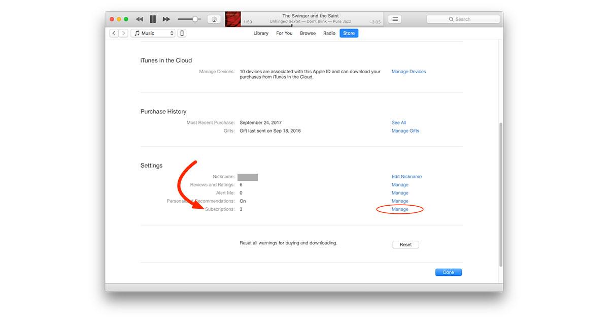 Managing subscriptions in iTunes app