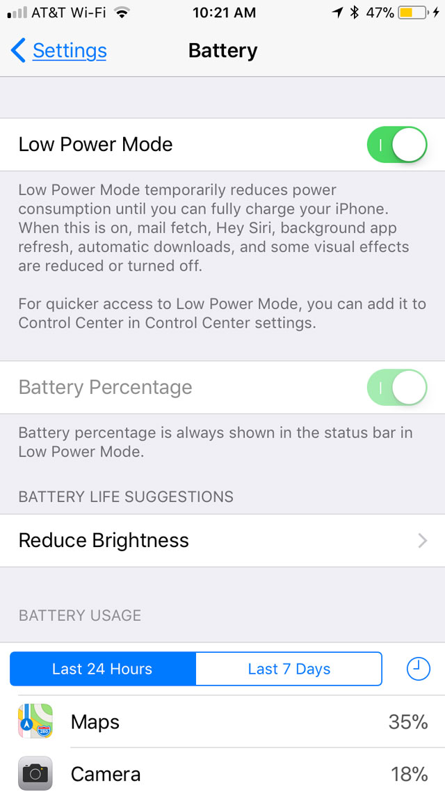 Low Power Mode in Settings in iOS 11
