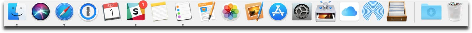 iCloud Drive icon and others in the dock.