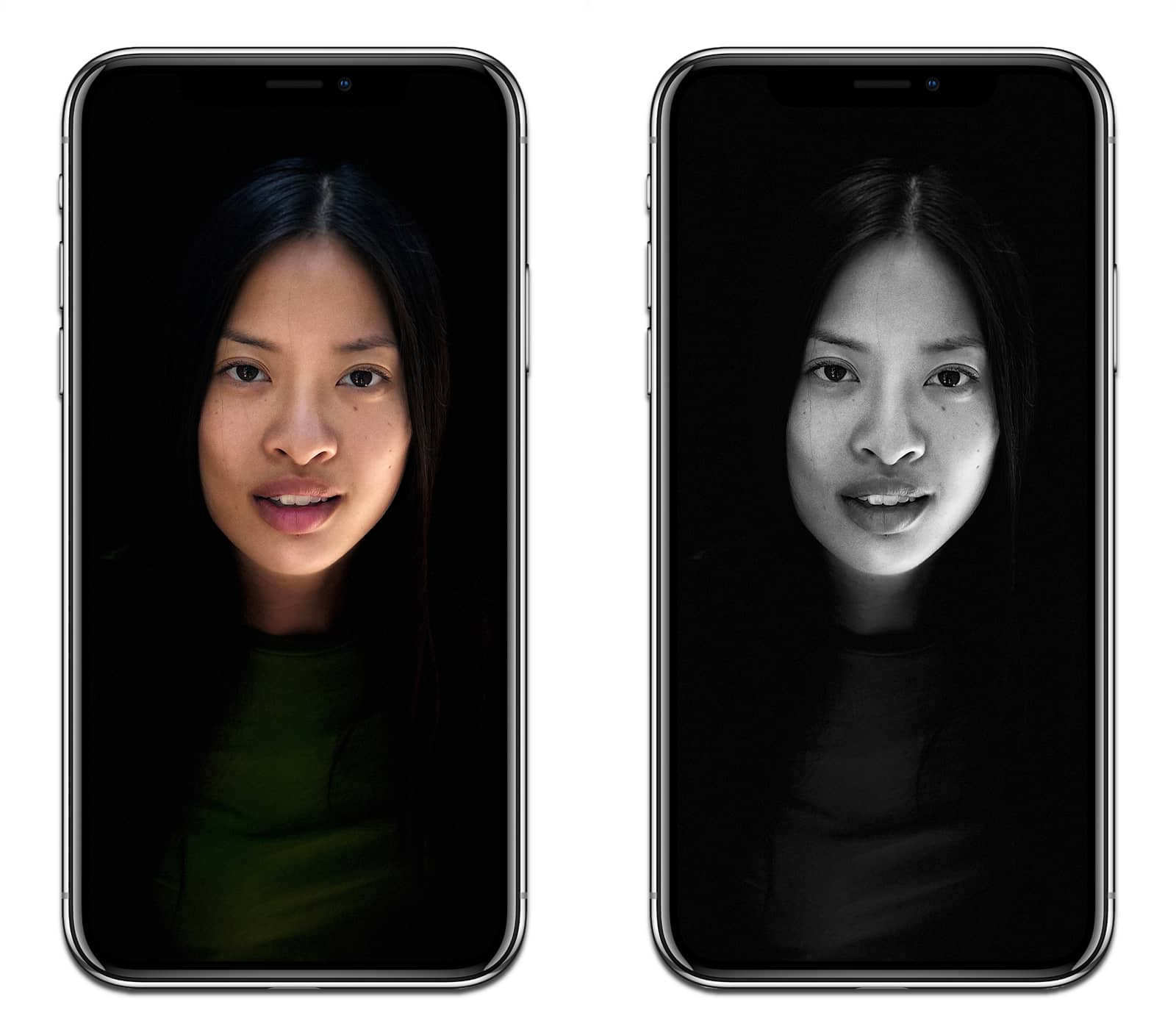 Screenshots of portrait lighting on the iPhone X.