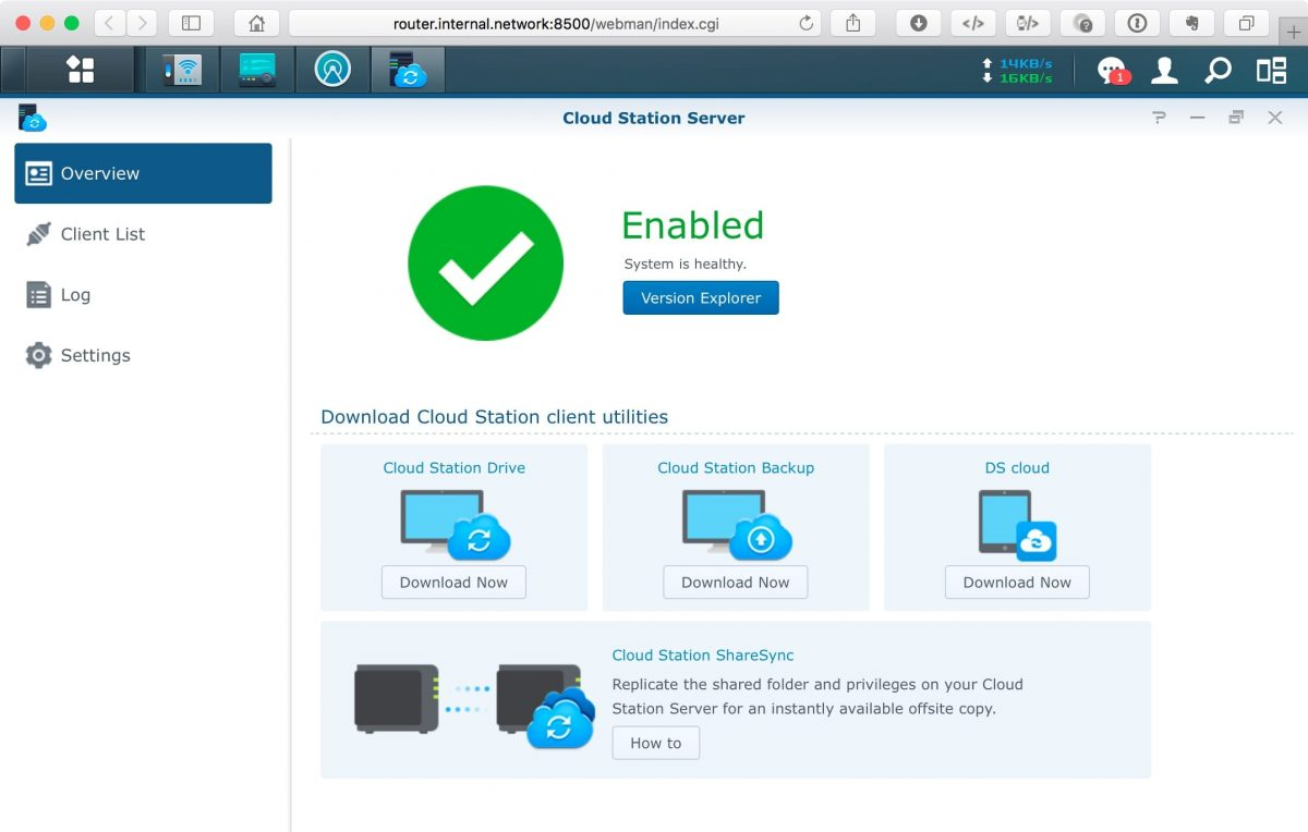 Screenshot of Synology Router SRM Cloud Station Server screen