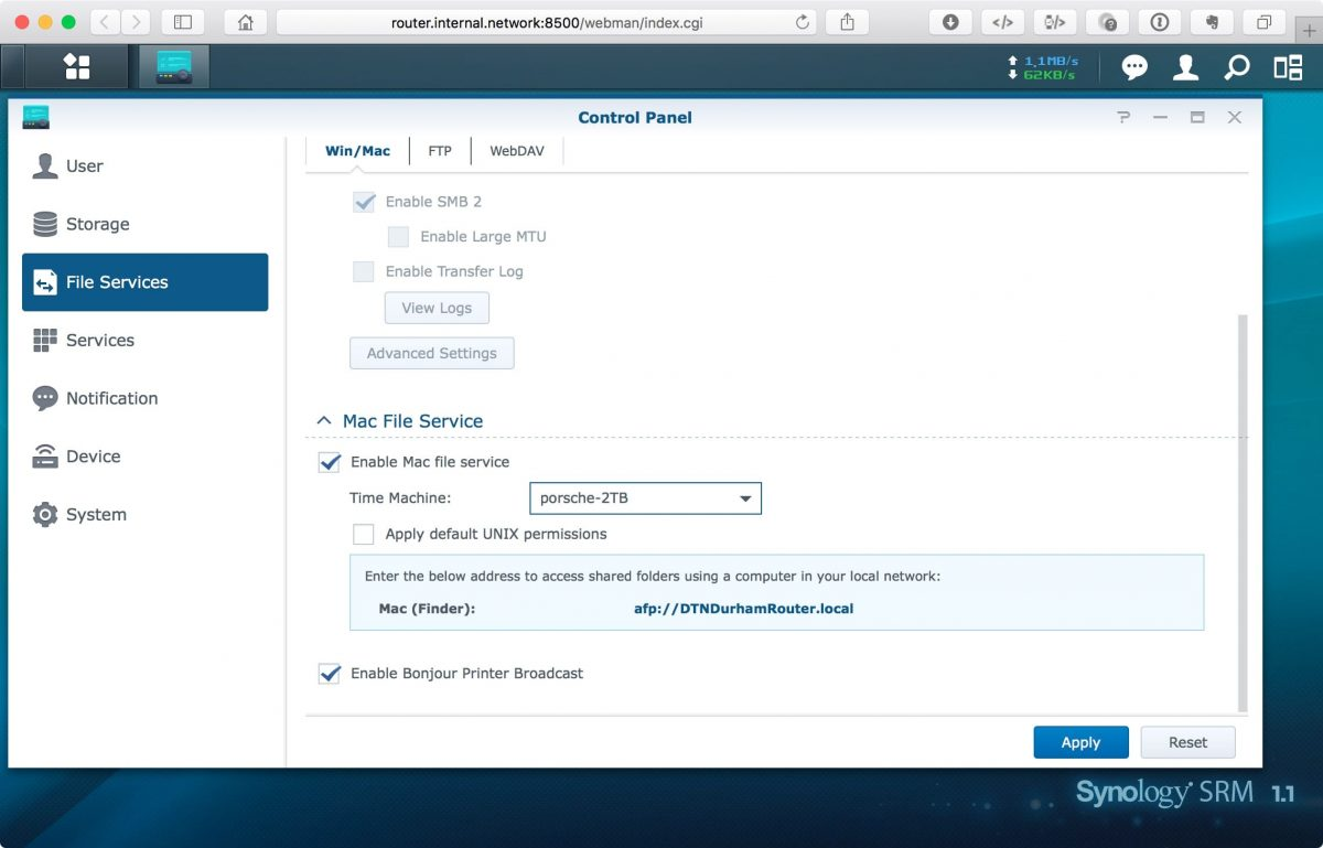 Screenshot of Synology Router SRM control panel Time Machine configuration screen