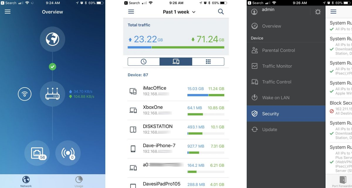 Screenshots of Synology's DS Router iPhone app