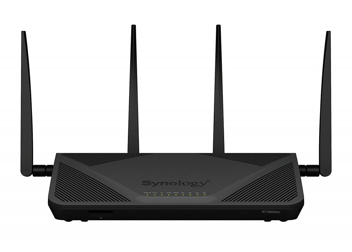 AirPort Extreme Replacement, the Synology RT2600ac router front view with four antennas