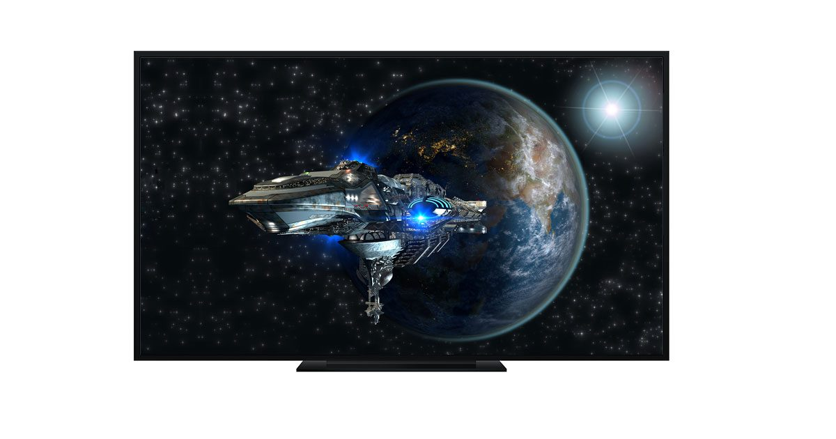 spaceship on television leaving orbit